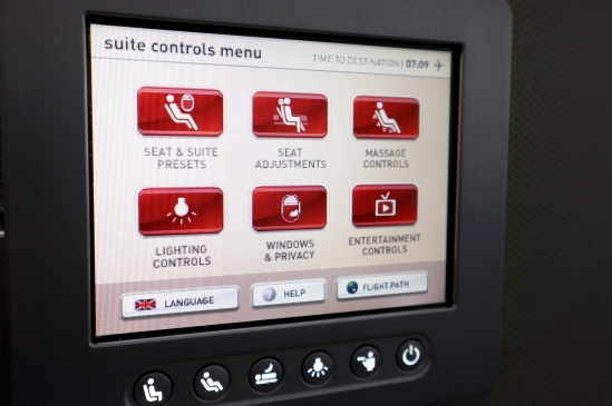 Qantas A380 First Class Seat Control