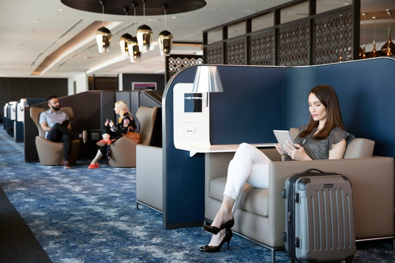 United Polaris lounge seating area at EWR