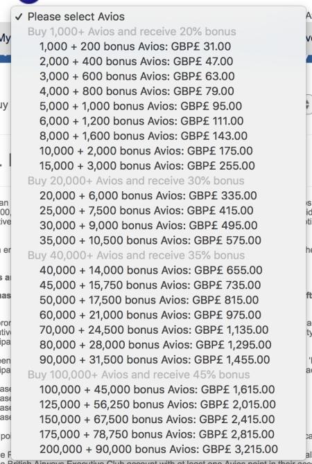 Avios 45% Bonus